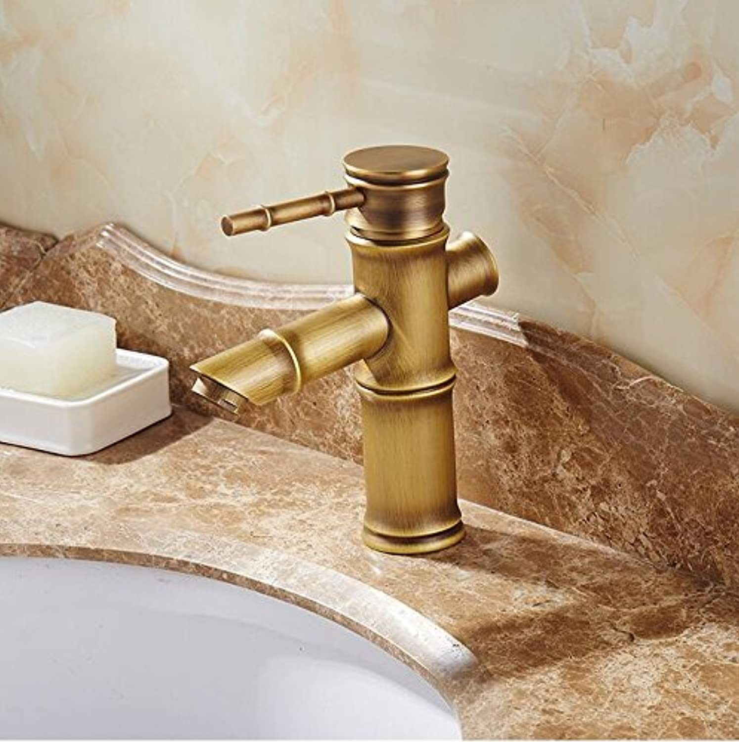 Mkkwp Antique Bamboo Bathroom Faucet Single Handle Bamboo Water Tap Antique Bronze Finish Brass Basin Sink Faucet Basin Faucet