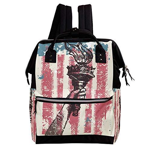 TIZORAX Freiheit mit Taschenlampe von Amerikanischer Flagge, Windel-Rucksack, große Kapazität, multifunktional, Wickeltasche, Reiserucksack für die Babypflege