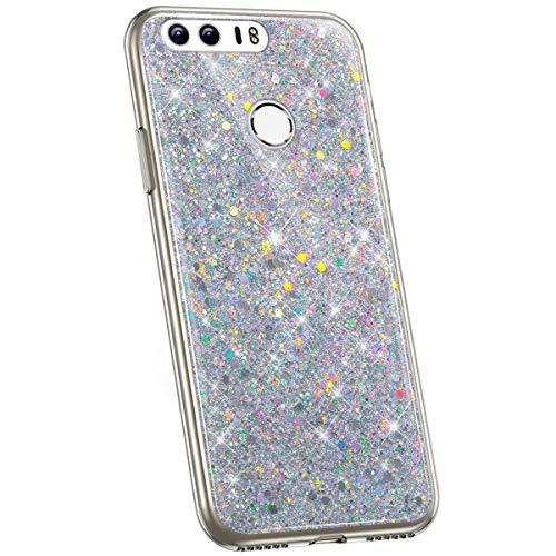 Jinghuash Kompatibel mit Huawei Honor 8 Hülle Glitzer Kristall Glänzend Strass Diamant Silikon Schutzhülle Ultra Dünn Crystal Clear TPU Silikon Handyhülle Tasche Case-Silber