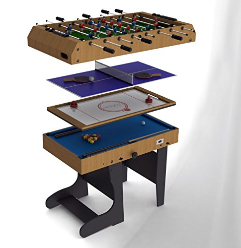 Riley 4en 1avec Pieds Pliables Domestic Multi Table de Jeu–Marron