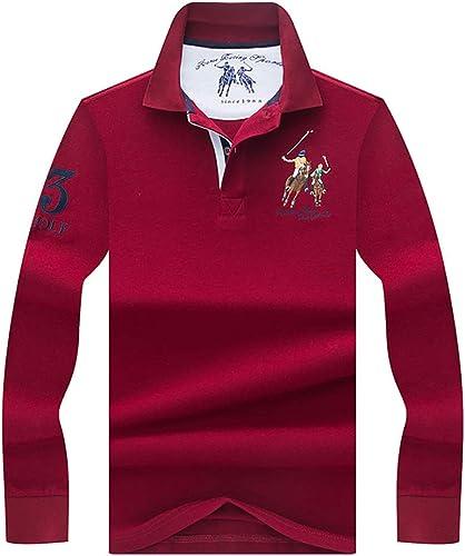 W&TT T-Shirt à Manches Longues à Manches Longues en Coton à Manches Longues pour Hommes,Darkrouge,XL