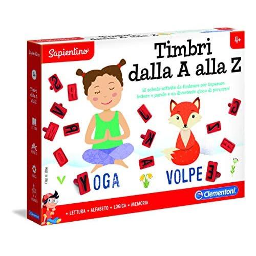 Clementoni - 16169 - Sapientino - Timbri dalla A alla Z, gioco educativo 4 anni - giochi per imparare lettere e parole, gioco di percorso - Made in Italy