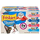 Purina Friskies Natural Wet Cat Food Variety Pack, Ocean Favorites Salmon & Tuna - (24) 5.5 oz. Cans