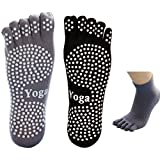 Calcetines de yoga para hombres 5-toe con agarre completo 2 pares (M)