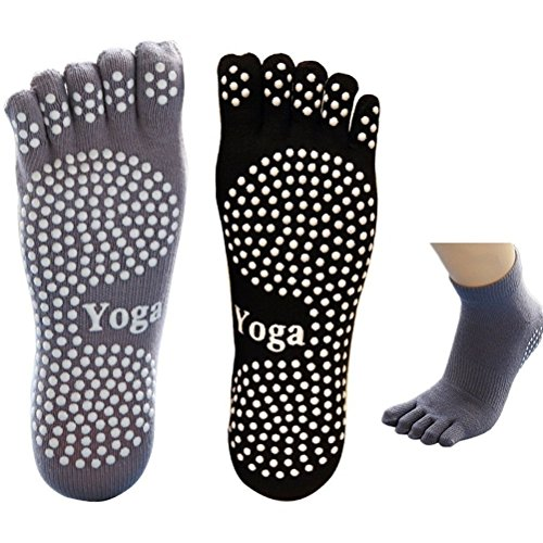 EQLEF 5 Dita Calzini Yoga Uomo Calzini Antiscivolo Grip Calzini Neri e Grigi in Cotone per l\'equilibrio di casa Pilates Yoga Dance Home Balance-2(M)