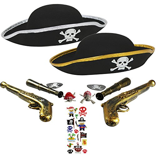 com-four® Set di Accessori I. per Costumi da Pirata - Ideale per Carnevale, Feste a Tema ed Eventi in Costume (11 Pezzi - per 2 Bambini)