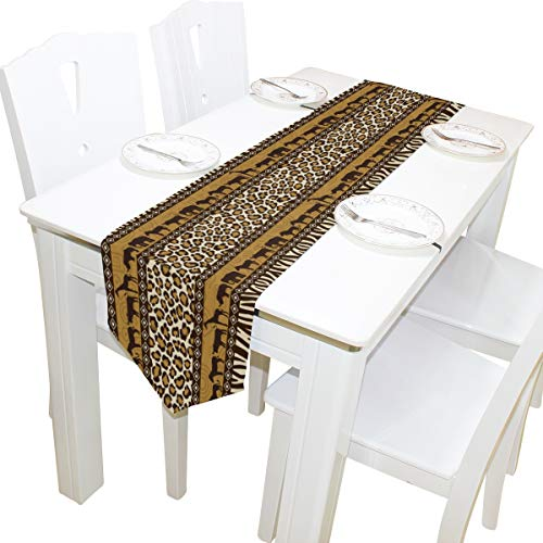 WOOR Double-Sided African Decor Giraffe Elephant Animal Leopard Print Table Runner 13 x 90 Inches Long,Table Cloth Runner for Wedding Party Holiday Kitchen Dining Home Everyday Decor