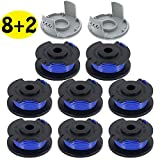 """LIYYOO 0.065"""" Autofeed String Trimmer Replacement Spool Line Compatible Ryobi One+ AC14RL3A 18V, 24V,40V Cordless Trimmers,10 Pack (8 Replacement Spool, 2 Trimmer Cap)"""