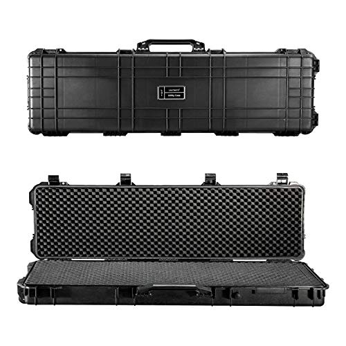 Lauraland 44 Inch Carrying Rifle Case, All Weather Water-Proof Safety Hard Gun Case with Foam with Wheels and Cuttable Foam