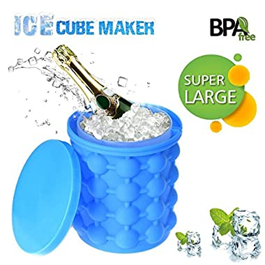 Silicone Ice Cube Maker Genie Revolutionary Space Saving Ice Cube Trays Molds Bucket for Chilling Burbon Whiskey Cocktail Beverages