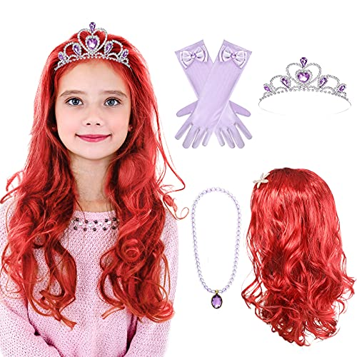 Lyrow 5 Pieces Mermaid Princess Wig with Wig Cap, Faux Pearl Starfish Hairpins, Rhinestone Crown, Long Gloves, Necklace for Halloween Costume Cosplay Accessories for Kids Girls