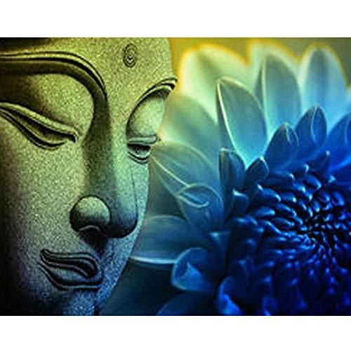 SFALHX Malen nach Zahlen Buddha-Statue Kinder Zahlen Kits - 40 * 50 cm DIY Vorgedruckt Leinwand-Ölgemälde Geschenk ( Mit Rahmen)