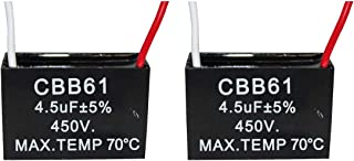 CompStudio 2Pcs 4.5UF 450V AC CBB61 Ceiling Fan Capacitor 2 Wire 50/60Hz,Black