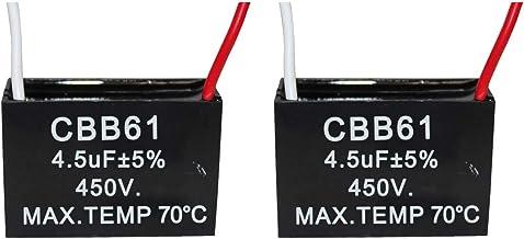 CompStudio 2Pcs 4.5UF 450V AC CBB61 Ceiling Fan Capacitor 2 Wire 50/60Hz,Black