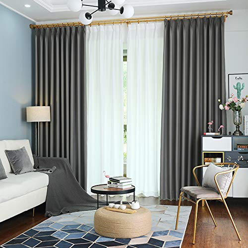 """IYUEGO Pinch Pleat Solid Thermal Insulated 95% Greyout Patio Door Curtain Panel Drape for Traverse Rod and Track, Grey 52"""" W x 84"""" L (One Panel)"""