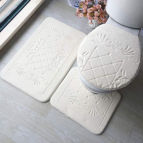 ZNBMTD 3 Pz Bagno Tappetino Set Embossing Flanella Tappeti Tappetino Copertura del Sedile WC Bagno Tappetino Accessori per La Decorazione Domestica