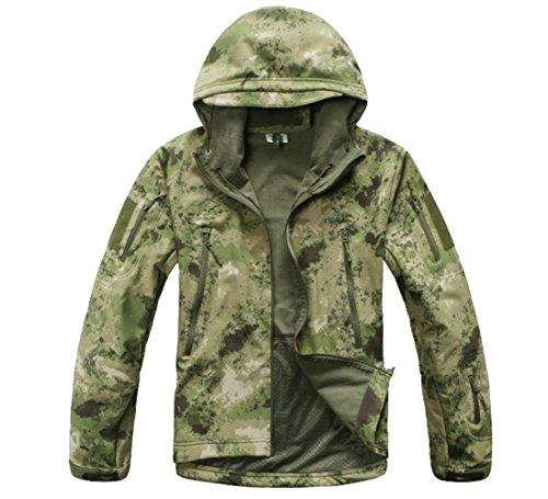 Veste à capuche imperméable pour homme Motif ruines Vert Taille M