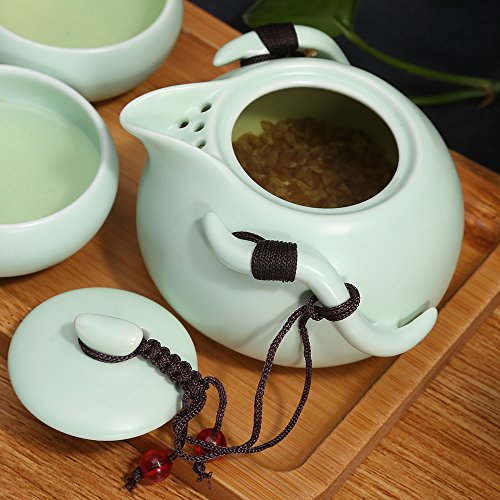 ティーセット急須湯呑みセット茶器揃陶磁茶具セット箱入りお茶出し煎茶碗×4個(青)