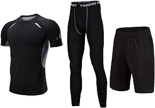 Trainingskleidung für Herren Kompression Kurzarm T-Shirt Shorts 3 Stücke Männer Workout Laufen Athletische Kleidung Sets Mit Kompression Enge Hosen für Radfahren Laufen Gym Fitness