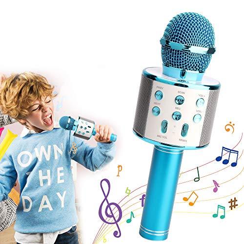 Sporgo Bluetooth Karaoke Mikrofon,Kinder Mikrofon Tragbare Hand-Karaoke Bluetooth Hand Karaoke Lautsprecher Spieler Maschine Fü KTV-Partei,Karaoke Mikrofon Für Android/Iphone/Ipad/Pc (blue)
