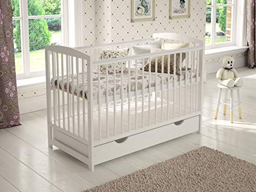 Jacob Wooden Baby Cot with Drawer 120x60cm + Foam Mattress + Safety Wooden...