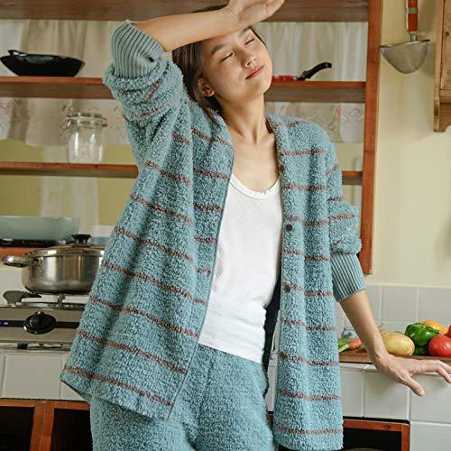 Bayrick Las Mujeres Son Pijamas de Lana de Coral Suave con un Lindo Servicio a Domicilio a Rayas-SG_Azul Pavo Real