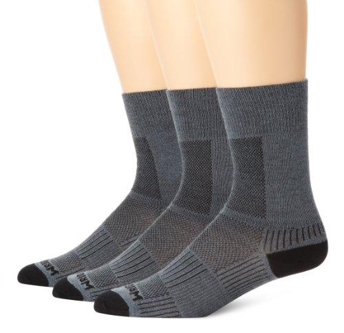 Wrightsock Men's Coolmesh Ii Crew 3 Pack Socks, Grey, Sock Size:10-13/Shoe Size: 6-12