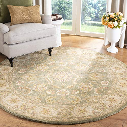 Safavieh Antiquity Collection AT313A Handmade Traditional Oriental Premium Wool Area Rug, 6' x 6' Round, Green / Gold