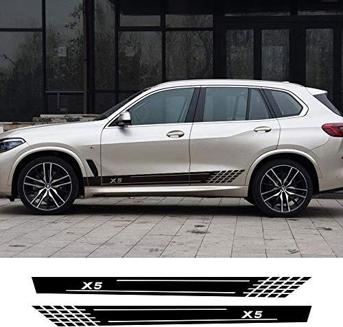 TYMDL 2 Pcs Coche Cuerpo Falda Lateral Rayas Pegatina para BMW X5 F15 E70 E53 G05 All Models, Vinilo Calcomanía Carreras Estilo Decorativas Accesorios Impermeables