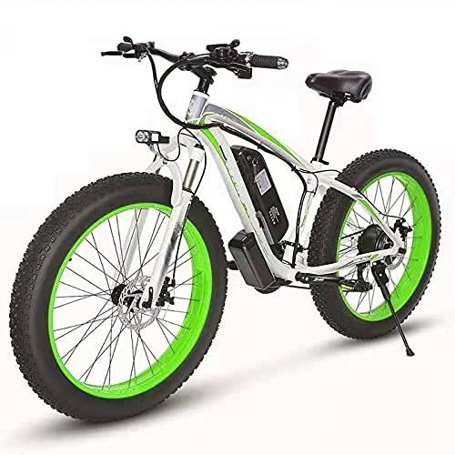 YIZHIYA Bicicleta Eléctrica, 26' E-Bike Fat Tire para Adultos, Frenos de Disco Delanteros y Traseros, Batería de Litio de 48V 10Ah, Ebike de montaña de 21 velocidades,White Green