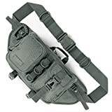 Fitdom Tactical Sling Bag for Men. Made from Heavy Duty Nylon & Built Tough for Outdoor. Also Use As Backpack, Fanny Waist Pack, Crossbody, Shoulder or Chest Bag for Travel Cycling (Grey)
