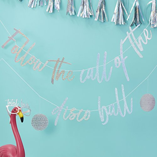 Ginger Ray Toile de fond argentée irisée « Follow The Call Of The Disco Ball » 3M Good Vibes