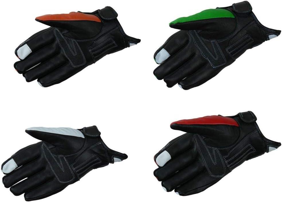 Heyberry Motorradhandschuhe Leder Motorrad Handschuhe Kurz Schwarz Orange Gr L Auto