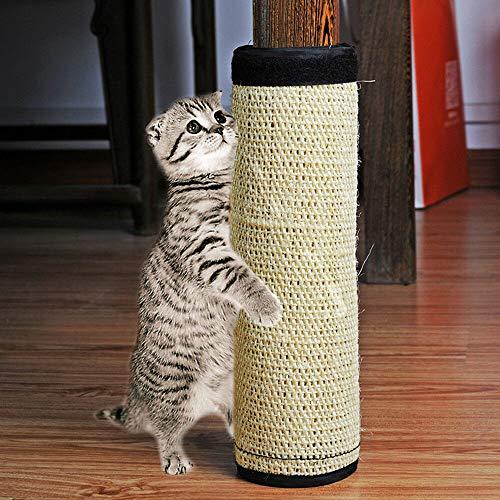 Peakpet Katze Kratzmatte Sisal Katzenteppich Sisalmatte Kratzspielzeug Klettverschluss Kratzbrett Kratzschutz Tischbeine Möbelbeine Schutzer Möbelschutz (40x30cm)