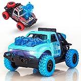 Spielzeugautos Zurückziehen, 2PCS Spielzeug Ziehen Auto mit Geräuschen und Lichtern Friktionsantrieb sauswurffunktion Monstertrucks Spielzeuggeschenk für Kinder Kleinkinder(Blau und Rot)