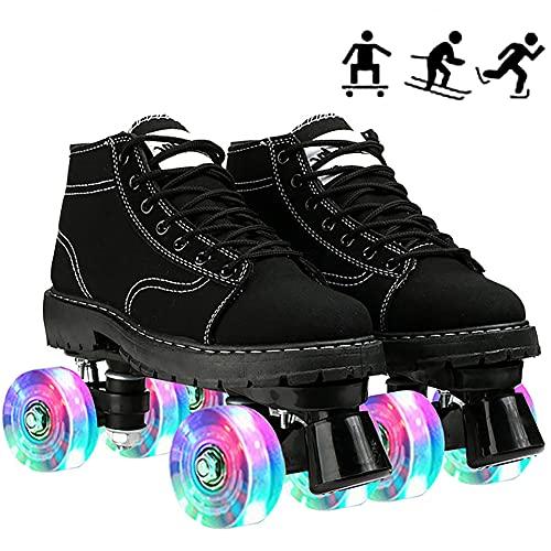 ilbcavne Quad Skate Patines,Patines de Ruedas,Patines Intermitentes Zapatillas,Canvas Patines,4 Ruedas para Adultos, Hombre, Mujer, Deportes al Aire Libre