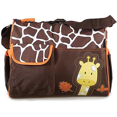 Accessotech - Pañal impermeable para bebé, cambiador de momia, bolsa de hombro con estera de viaje (naranja jirafa)