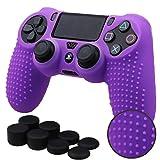 Pandaren® STUDDED Silikon Hülle Anti-Rutsch für PS4 controller x 1 (lila) + FPS PRO thumb grips aufsätze x 8