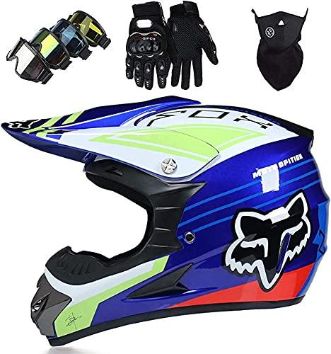 Casco Motocross Niño 5~12 Años ECE Homologado Casco Moto Integral Unisex para Moto Cross Descenso Enduro MTB Quad BMX Bicicleta (Gafas+Máscara+Guantes) con Diseño Fox,S