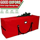 OurWarm Christmas Tree Storage Bag Extra Large Heavy Duty Storage Containers with Reinforced Handles Zipper for 8ft Artificial Tree, 50' x 15' x 20' 600D Oxford Xmas Holiday Tree Storage Bag, Red