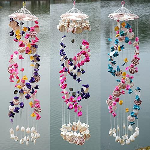 PPuujia Shuangyong colore shell vento campana stile mediterraneo casa regalo decorazione vento...