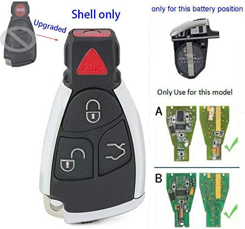 Beefunny Modified Smart Remote Car Key Shell Case 3 Button+Panic for Mercedes-Benz CLS C E S for Dual battery ONLY