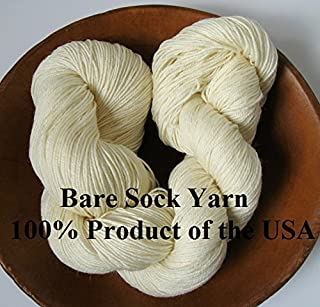 Bare Fingering Sock Yarn 100% Superwash Merino Undyed Naked Ecru for Dyeing Knitting Crochet