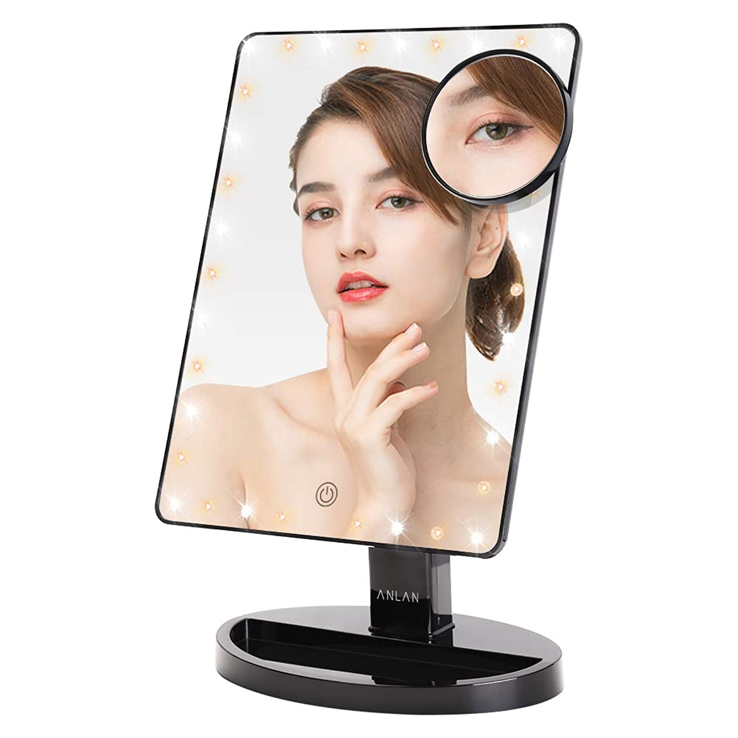 ピグマリオン余裕がある受信機卓上鏡 LED化粧鏡 ANLAN 女優ミラー 10倍拡大鏡付き スタンド 明るさ調節可能 360°回転式 前後180°無階段調整 USB/単三電池給電