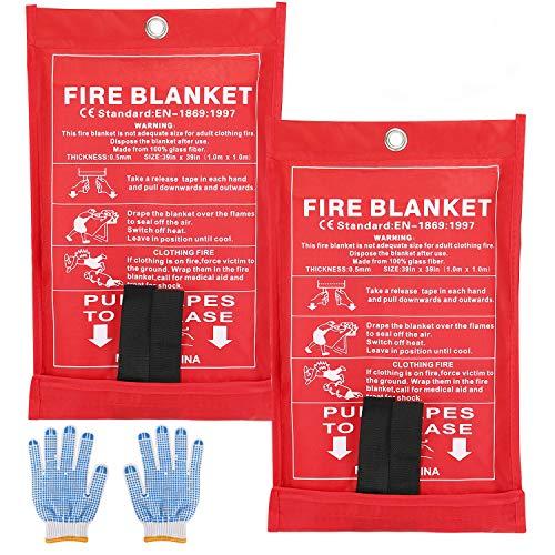 SAINUOD Feuerlöschdecke, Fiberglas-Notfalldecke, Entstörung, entflammbar, für Küche, Kamin, Auto, Büro, Lager (2 Stück)