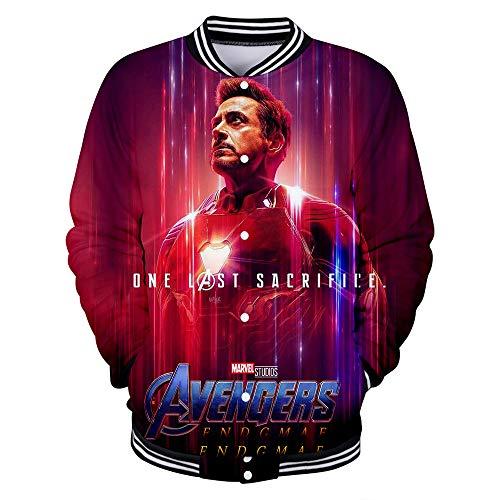 Rkjhgiikjf Avengers Endgame Pullover Versión Coreana Nueva impresión Digital Tendencia Moda Loose 64D Hombres Cremallera Suéter Capa Delgada Unisex (Color : A01, Size : XXL)