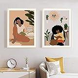Lienzo decorativo para pared, diseño de mujer negra africana leyendo libros, fotos nórdicos, 2 piezas, 50 x 60 cm, sin marco
