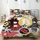 Zozun Juego de Funda nórdica Beige, Estilo Doodle de Bitcoin, Juego de Cama Decorativo de 3 Piezas con 2 Fundas de Almohada
