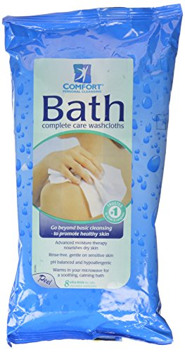 Comfort Bath! Personal Cleansing, Ultra-Thick Disposable Washcloths, 8 ea pack of 2