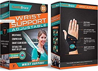 ComfyBrace-Premium Copper Lined Wrist Support/Wrist Strap/Carpal Tunnel Wrist Brace/Arthritis Hand Support -Fits Both Hands-Adjustable Fitted